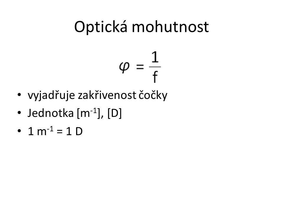 Optická mohutnost vyjadřuje zakřivenost čočky Jednotka [m-1], [D]